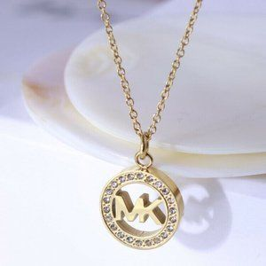 NEW Michael Kors Logo Circle Pave Necklace